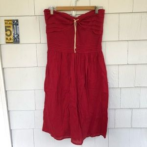 Anthropologie Odille Red Strapless Rope Dress